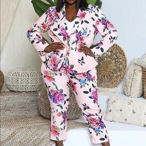 Pink Floral Suit Set